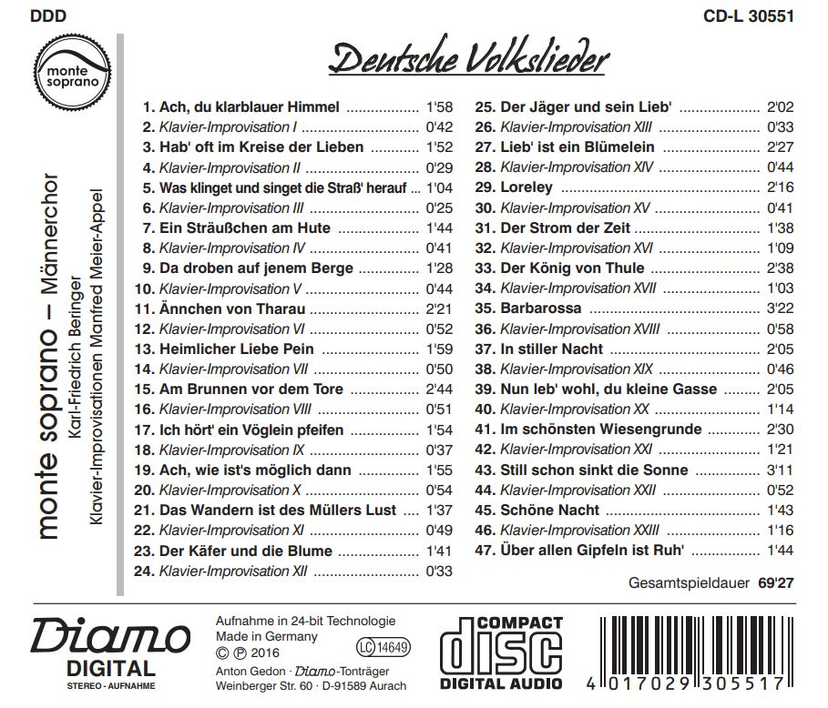 CD Volkslieder - InlayCard